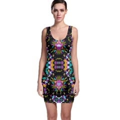 Digital Futuristic Geometric Pattern Bodycon Dress