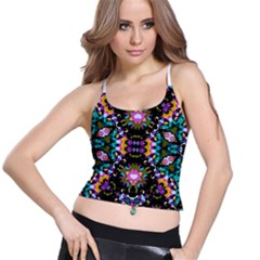 Digital Futuristic Geometric Pattern Women s Spaghetti Strap Bra Top