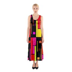 Squares And Rectangles Full Print Maxi Dress