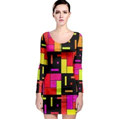 Squares and rectangles Long Sleeve Bodycon Dress