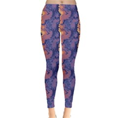 Pink blue waves pattern Leggings