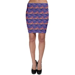 Pink blue waves pattern Bodycon Skirt