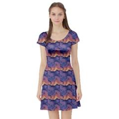 Pink blue waves pattern Short Sleeved Skater Dress