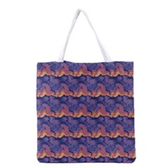 Pink blue waves pattern Grocery Tote Bag