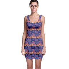 Pink blue waves pattern Bodycon Dress