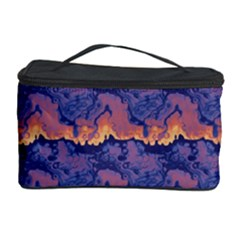 Pink blue waves pattern Cosmetic Storage Case