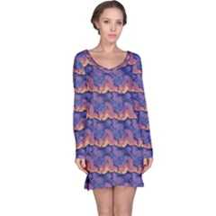 Pink blue waves pattern nightdress