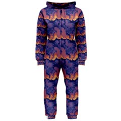 Pink blue waves pattern Hooded OnePiece Jumpsuit