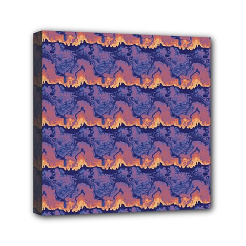 Pink Blue Waves Pattern Mini Canvas 6  X 6  (stretched)