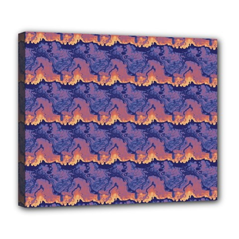 Pink Blue Waves Pattern Deluxe Canvas 24  X 20  (stretched)