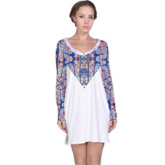 Floral Pattern Digital Collage Long Sleeve Nightdress