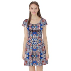Floral Pattern Digital Collage Short Sleeved Skater Dress