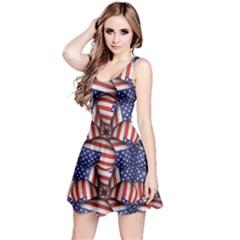 Modern Usa Flag Motif  Sleeveless Dress