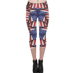 Modern Usa Flag Motif  Capri Leggings