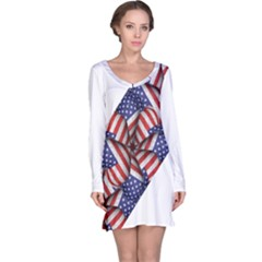 Modern Usa Flag Motif  Long Sleeve Nightdress