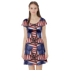 Modern Usa Flag Motif  Short Sleeved Skater Dress