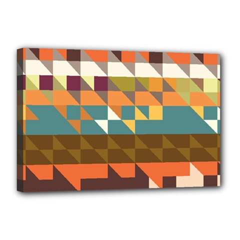 Shapes In Retro Colors Canvas 18  X 12  (stretched)