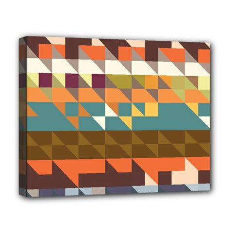 Shapes In Retro Colors Deluxe Canvas 20  X 16  (stretched)