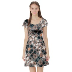 Modern Floral Decorative Pattern Print Short Sleeved Skater Dress