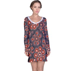 Modern Floral Decorative Long Sleeve Nightdress