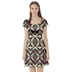 Geometric Abstract Grunge Short Sleeved Skater Dress