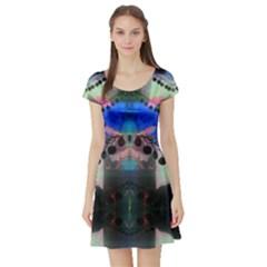 Window Veiled By Saprillika Short Sleeved Skater Dress