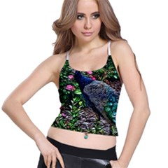 Peacock with roses Women s Spaghetti Strap Bra Top