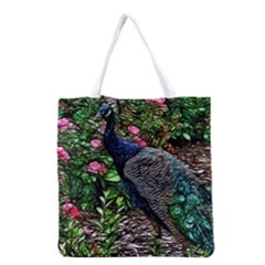 Peacock With Roses Grocery Tote Bag