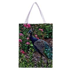 Peacock with roses Classic Tote Bag