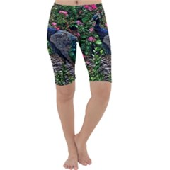 Peacock with roses Cropped Leggings