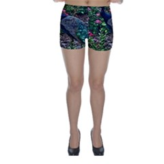 Peacock With Roses Skinny Shorts