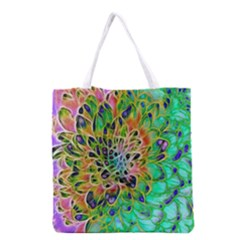 Abstract peacock Chrysanthemum Grocery Tote Bag