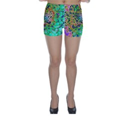 Abstract peacock Chrysanthemum Skinny Shorts