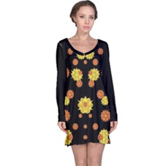 Floral Print Modern Style Pattern Long Sleeve Nightdress