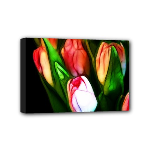 Abstract Pink Tulips Mini Canvas 6  X 4  (framed)
