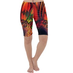 Abstract of an Orange Gerbera Daisy Cropped Leggings