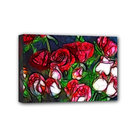 Abstract Red And White Roses Bouquet Mini Canvas 6  X 4  (framed)