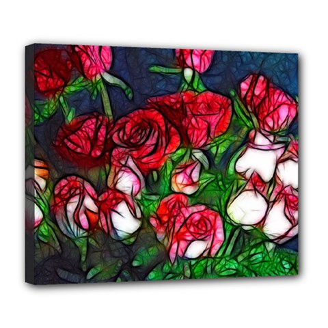 Abstract Red and White Roses Bouquet Deluxe Canvas 24  x 20  (Framed)