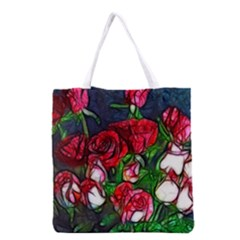Abstract Red and White Roses Bouquet Grocery Tote Bag