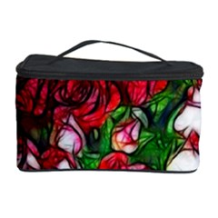Abstract Red and White Roses Bouquet Cosmetic Storage Case