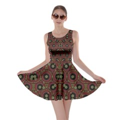 Digital Abstract Geometric Pattern In Warm Colors Skater Dress