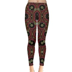 Digital Abstract Geometric Pattern in Warm Colors Leggings