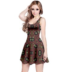 Digital Abstract Geometric Pattern in Warm Colors Sleeveless Dress
