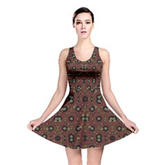 Digital Abstract Geometric Pattern in Warm Colors Reversible Skater Dress