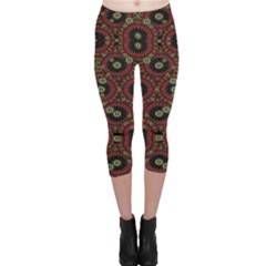 Digital Abstract Geometric Pattern in Warm Colors Capri Leggings