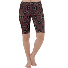Digital Abstract Geometric Pattern In Warm Colors Cropped Leggings