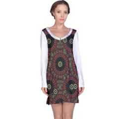 Digital Abstract Geometric Pattern in Warm Colors Long Sleeve Nightdress
