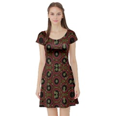 Digital Abstract Geometric Pattern in Warm Colors Short Sleeved Skater Dress