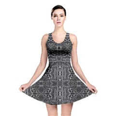 Black And White Tribal Geometric Pattern Print Reversible Skater Dress