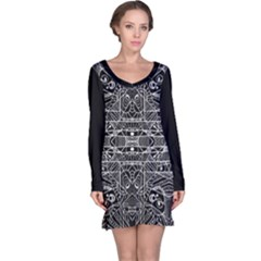 Black And White Tribal Geometric Pattern Print Long Sleeve Nightdress